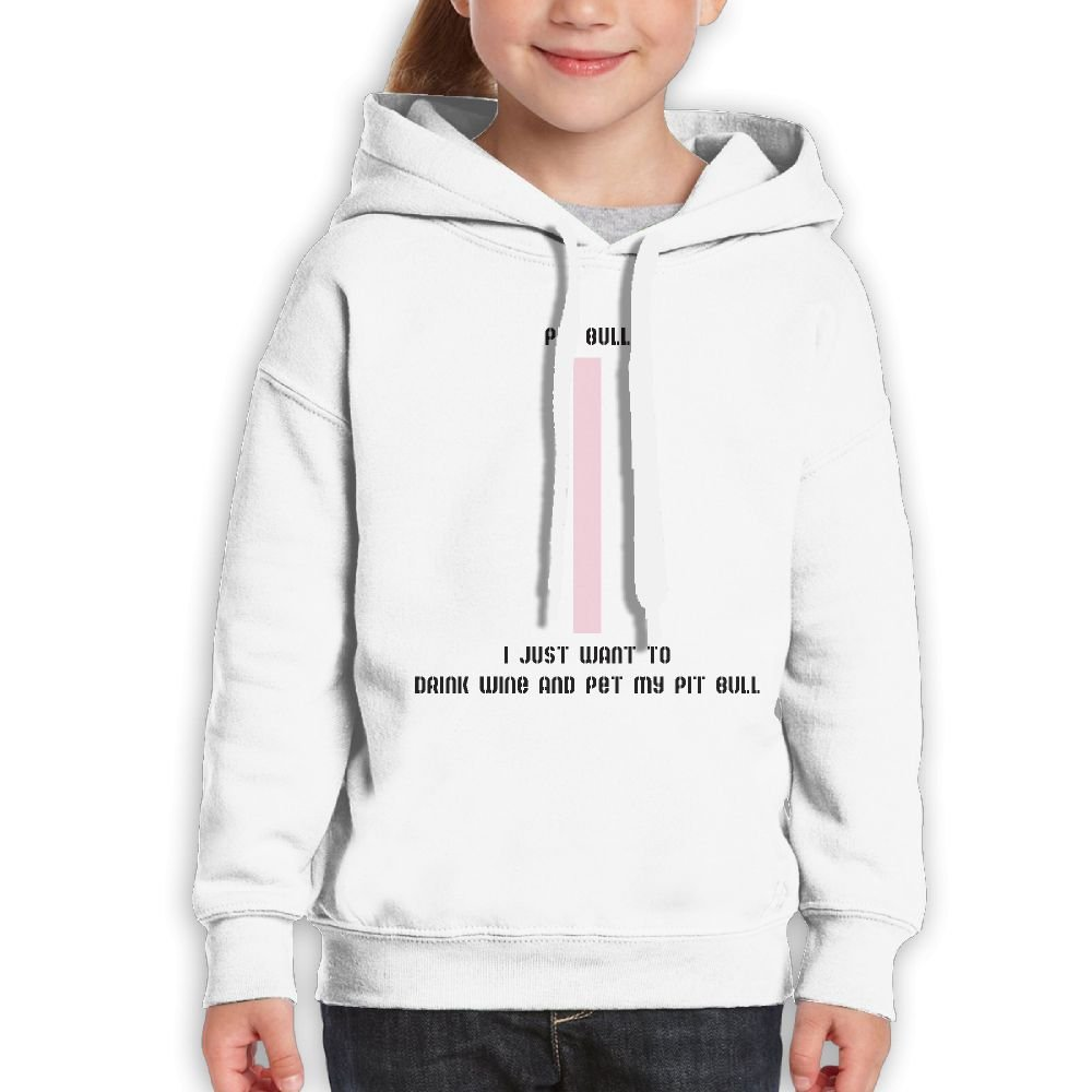 I Just Want To Drink Wine and Pet My Pit Bull Teenage Girls Classic Funny Pullover Hoodies Fashion