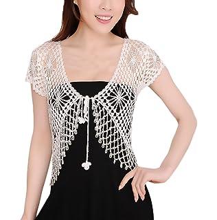 Donna Coprispalle Corto Bolero Elegante Vintage Mode Giovane Abbigliamento  Manica Corta Crochet Hollow Da Cerimonia Da d981189dffa3