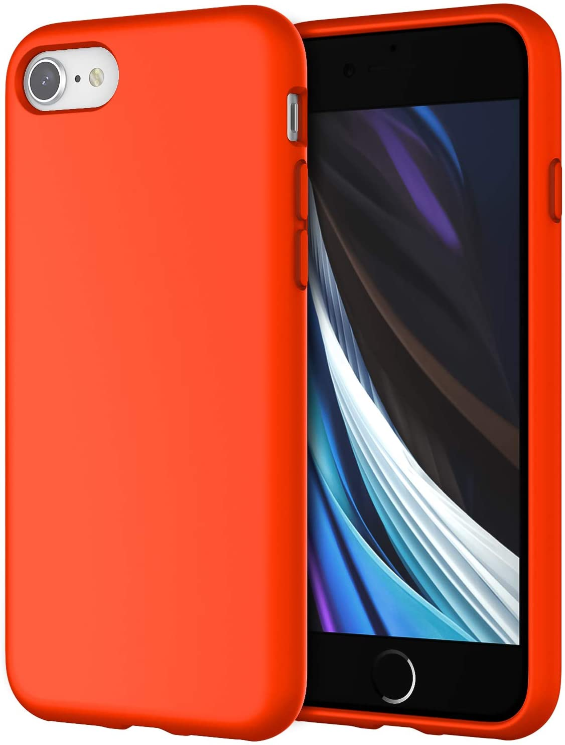 JETech Silicone Case for iPhone SE 2020, iPhone 8 and iPhone 7, 4.7-Inch, Silky-Soft Touch Full-Body Protective Case, Shockproof Cover with Microfiber Lining, Spicy Orange