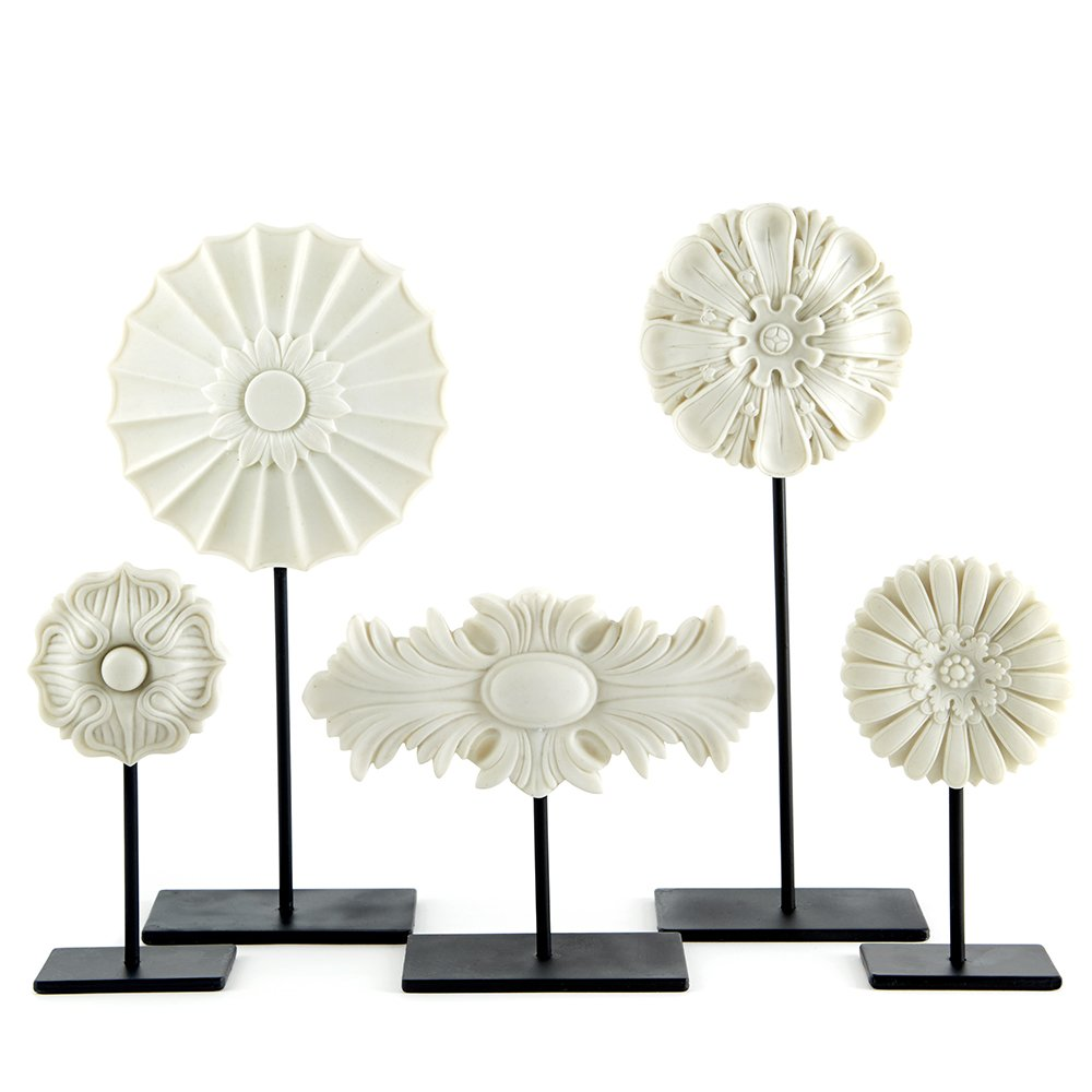 Two's Company Tozai Architectural Medallions On Stands, Set of 5