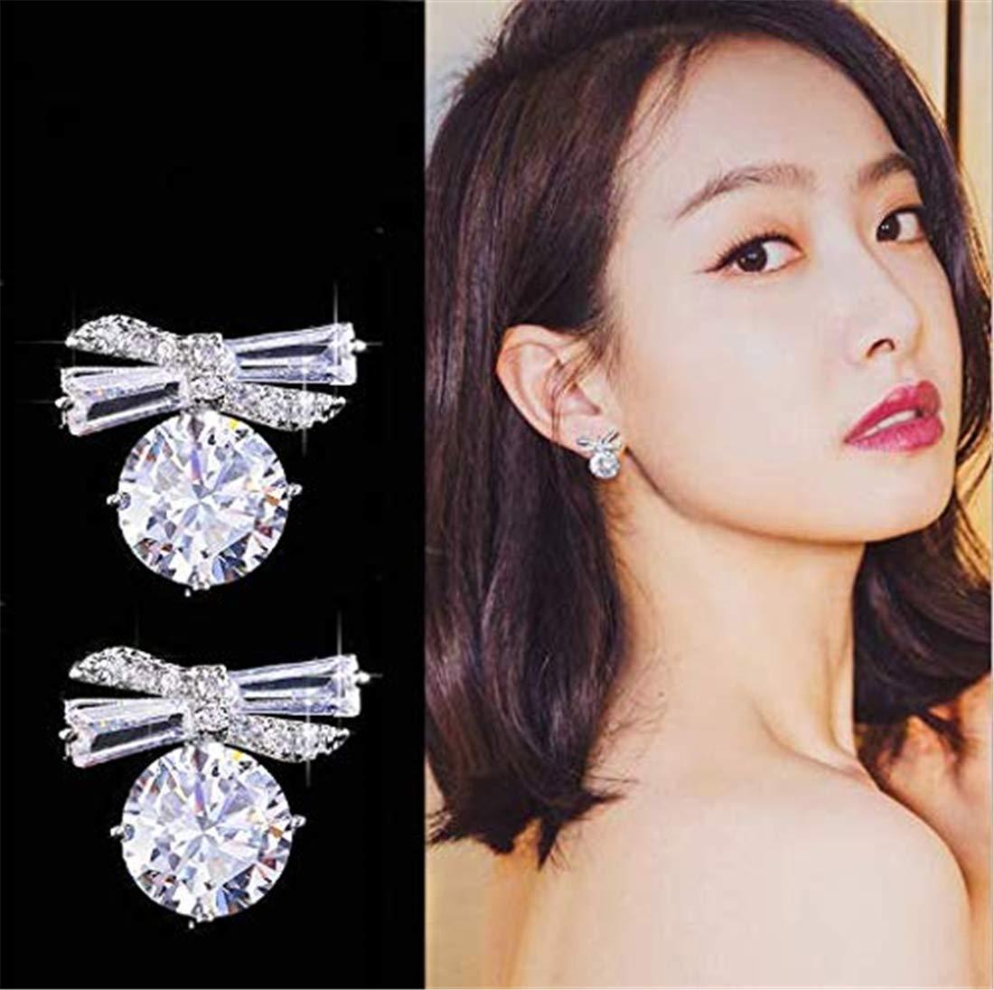 Heyuni.Fashion Girls Bow Crystal Stud Earrings Surgical