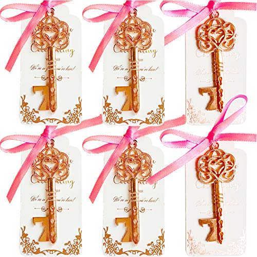 25 Romantic Rose Gold Key Bottle Opener Wedding Favor with Tag, Rose Gold Foil Stamping Thank You Escort Card, Skeleton Key Bottle Opener, Wedding Souvenir Gifts, Party Favors for Guests(Pink Ribbon) ()