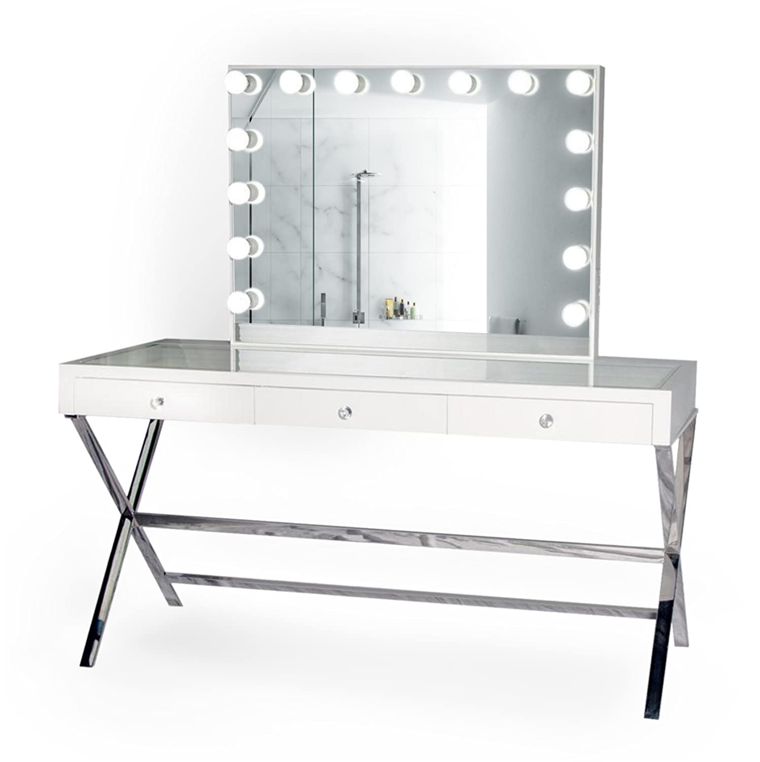 Amazon com krugg glamarous 60 vanity makeup table w polished legs chair led hollywood mirror kitchen dining