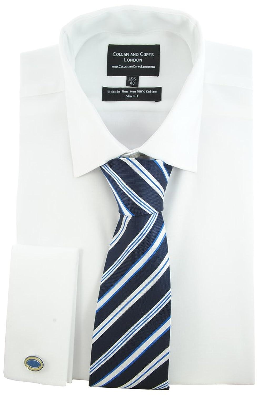 COLLAR AND CUFFS LONDON - HEMD, KRAWATTE UND MANSCHETTENKNÖPFE - BÜGELFREI - TWILL - 100% Baumwolle - Herrenhemd - Weiß - Slim Fit - Umschlagmanschette - Langarm - Kragenweite 37 - 46