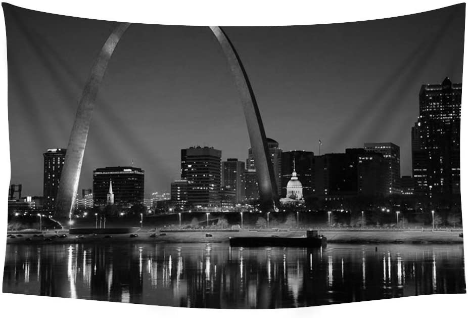 Pupbeamo Prints St Louis Arch Wall Tapestry Art For Home Decor Wall Hanging Tapestry 60x40 Inches Black And White Home Kitchen