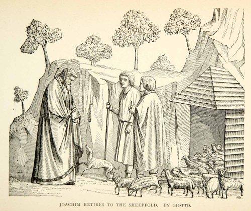 1889-wood-engraving-joachim-sheep-giotto-bondone-late-medieval-art-trees-saint-original-wood-engravi