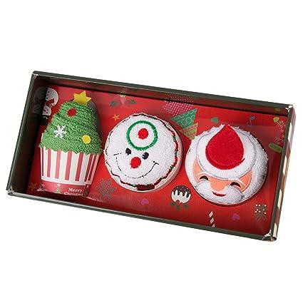 Jamron Unisexo Adultos Niños Navidad Novedad Regalo 3 PCS Juegos de Toallas 30cm * 30cm con
