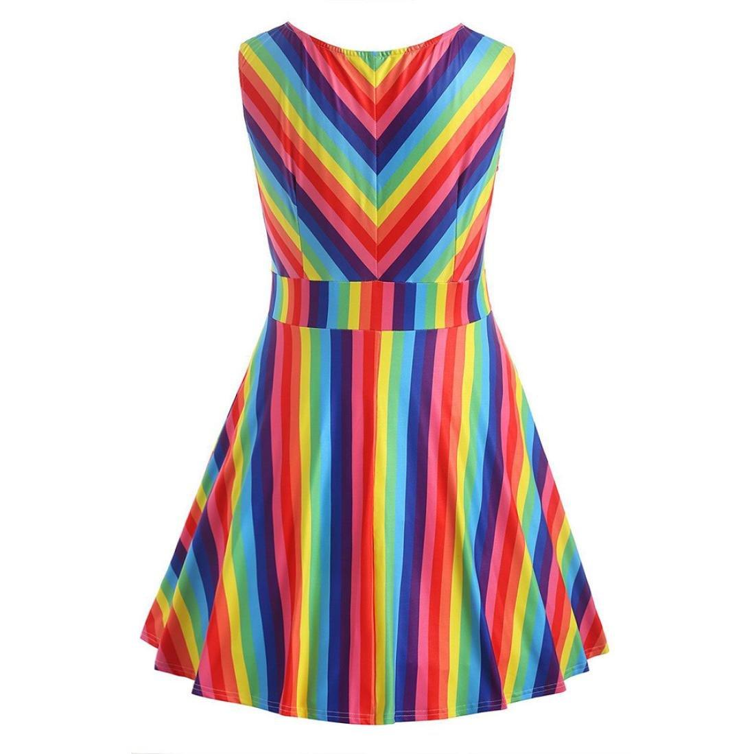 Joint 2018 Summer Swing Dresses, Women\'s Vintage Plus Size Rainbow ...
