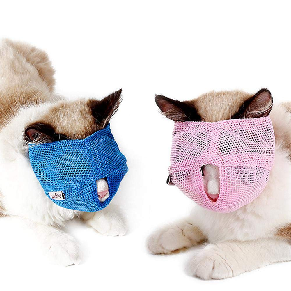 Amazon.com : AUOKER Cat Muzzle Breathable Mesh, Air Cat Nylon Face Mask with Adjustable Buckle for Pet Cat Dog Bathing Or Trimming Grooming Nails Eliminate ...