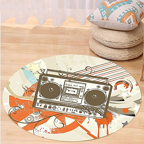 VROSELV Custom carpetUrban Style Urban Background in Graffiti Style With Cool Boom Box Illustration for Bedroom Living Room Dorm Beige and Orange Round 24 inches - Hanger Style Double Sided Floor