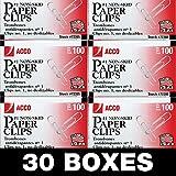 ACCO Paper Clips, 1 Size, Non-skid, Economy, 30 Boxes, 100/Box (72385)