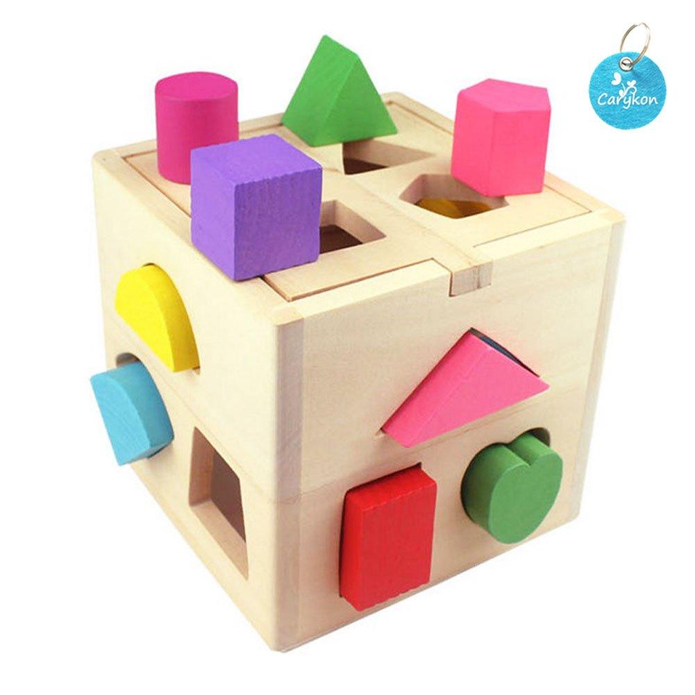 Carykon Wooden Shape Cube Toy Preschool Educational Toy for Children 13 Geometric Shape Blocks, Assorted Color