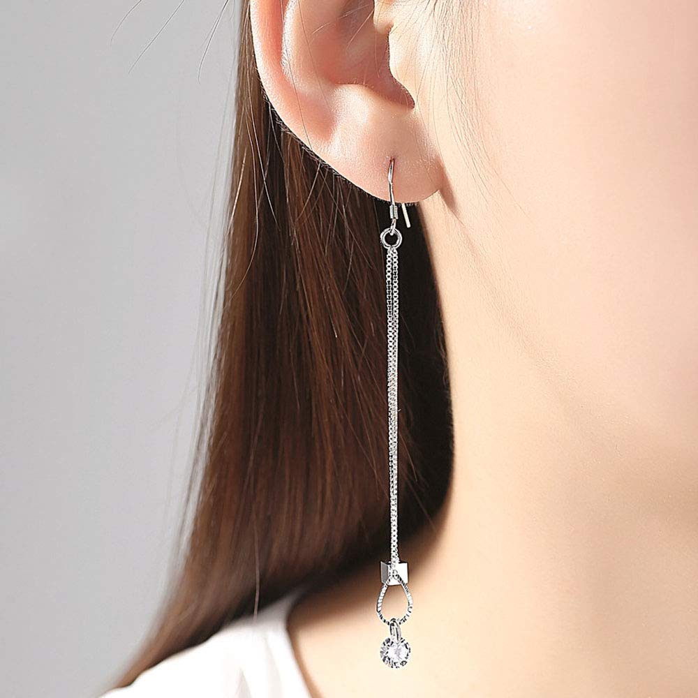 Worry-Free White Gold Plated Long Tassel Box Chain CZ Hook Earrings