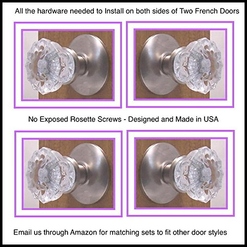 Dummy Spindle (Two Pair Depression Crystal French Door Dummy Knobs for dummy knobs on both sides of Two French Doors. Premium Rosettes - No exposed screws. Easy Mount with our exclusive Self centering hardware (BRUSHED NICKEL))
