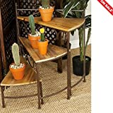 Metal Tiered Plant Stand Planter Corner Rack Rustic Patio Unique Multiple Plants Pot Rack Outdoor Furniture & E book By Easy2Find