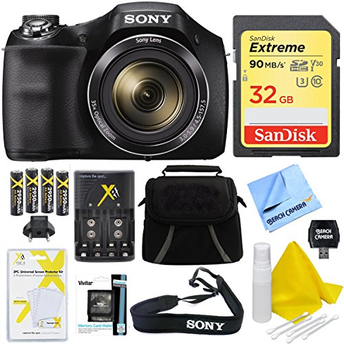 Sony DSCH300/B Digital Camera (Black) Bundle with High Speed 32GB Card, Rechargeable AA Batteries and AC/DC Charger, SD Card Reader, Table Top Tripod, LCD Screen Protectors, Padded Case, Memory Wallet