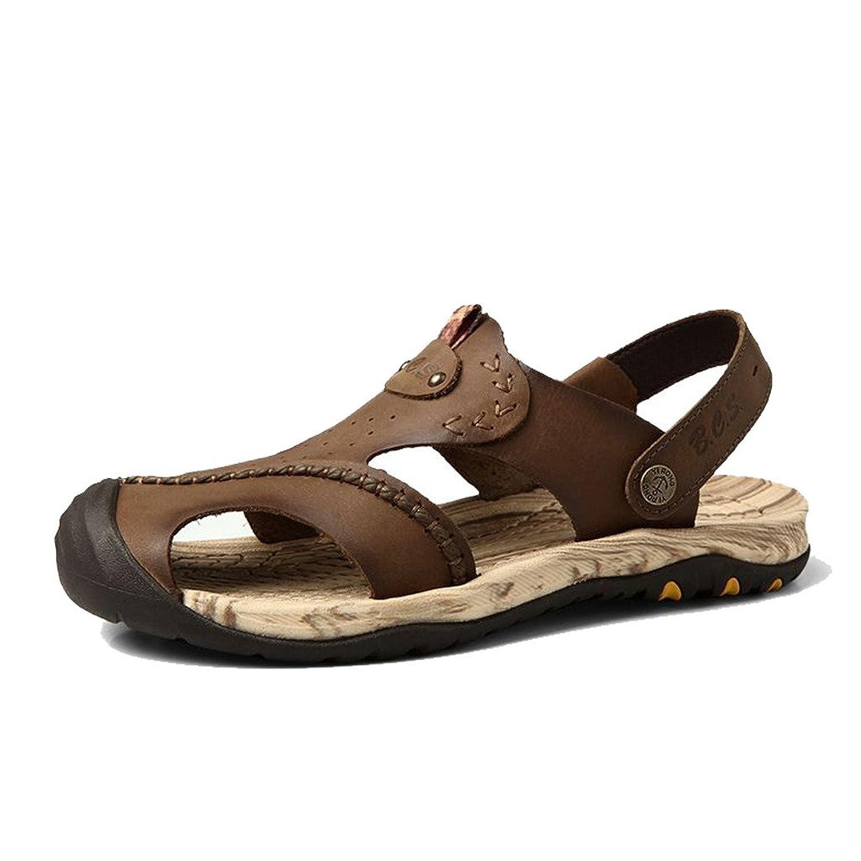 BAN&CS Men's Outdoor Sandals Closed Toe Genuine Leather