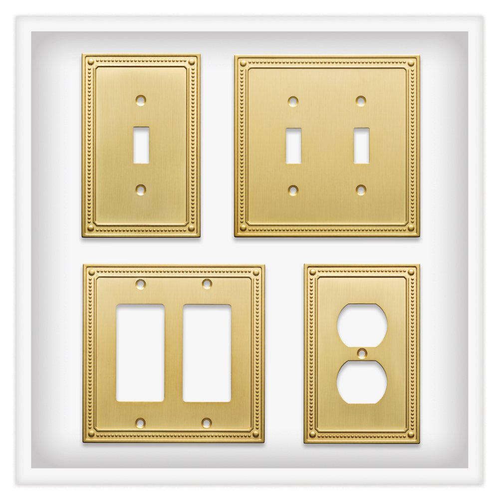Franklin Brass W35060-BB-C Classic Beaded Single Decorator Wall Plate/Switch Plate/Cover, Brushed Brass by Franklin Brass (Image #4)