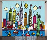 Cheap Ambesonne Playroom Decor Curtains, New York City in Cartoon Style Colorful Childlike Drawing Kids Room Nursery, Living Room Bedroom Window Drapes 2 Panel Set, 108W X 108L Inches, Multicolor