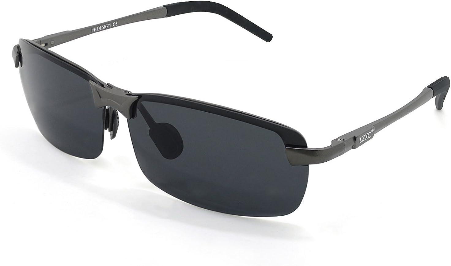 LZXC Polarizado Conducir Gafas De Sol Hombres Mujeres Deporte De Gafas Primavera De Bisagra Irrompible Ultra-Luz AL-MG HD Negro Lente