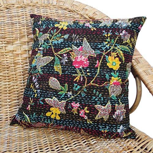 "Indian Home Decor Kantha Stitch Pillow Cover Black Sofa Cushion Cover 16"" X 16"""