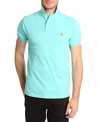 34311b558aaf38 POLO Ralph Lauren - Polos manches courte - Homme - Polo Slim Fit Bleu  Turquoise -