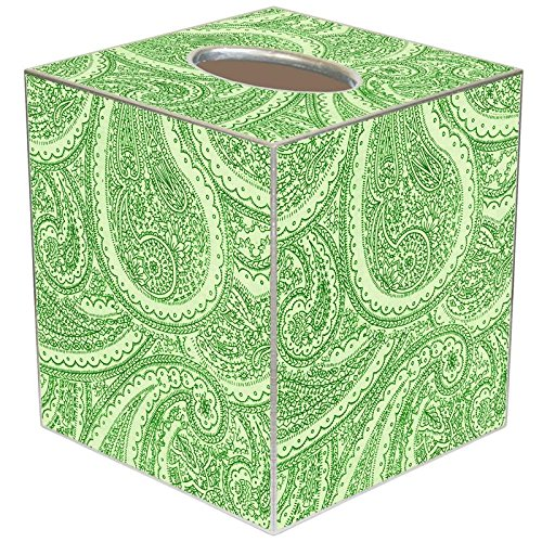 - TB2635 - Creme And Green Paisley Tissue Box Cover