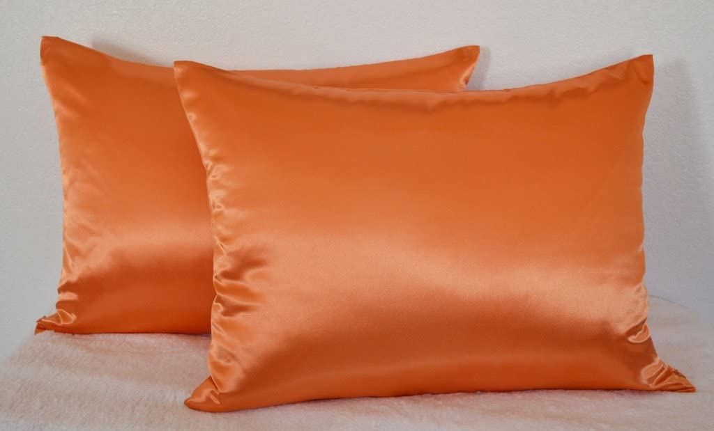 Aiking Home luxury Shiny Satin Pillowcases (Pack of 2), Size 20''x30'', Queen-Orange