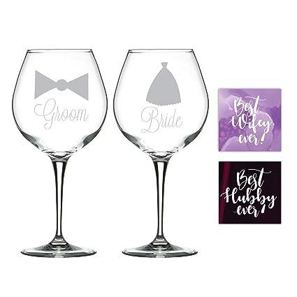 Buy Yaya Cafe Wedding Gifts For Couple Wine Glasses Engraved Bride
