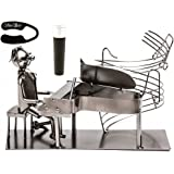Fabulous Pianist Piano Player Metal Wine Bottle Holder ,Plus a Wine Foil Cutter and a Wine Stopper