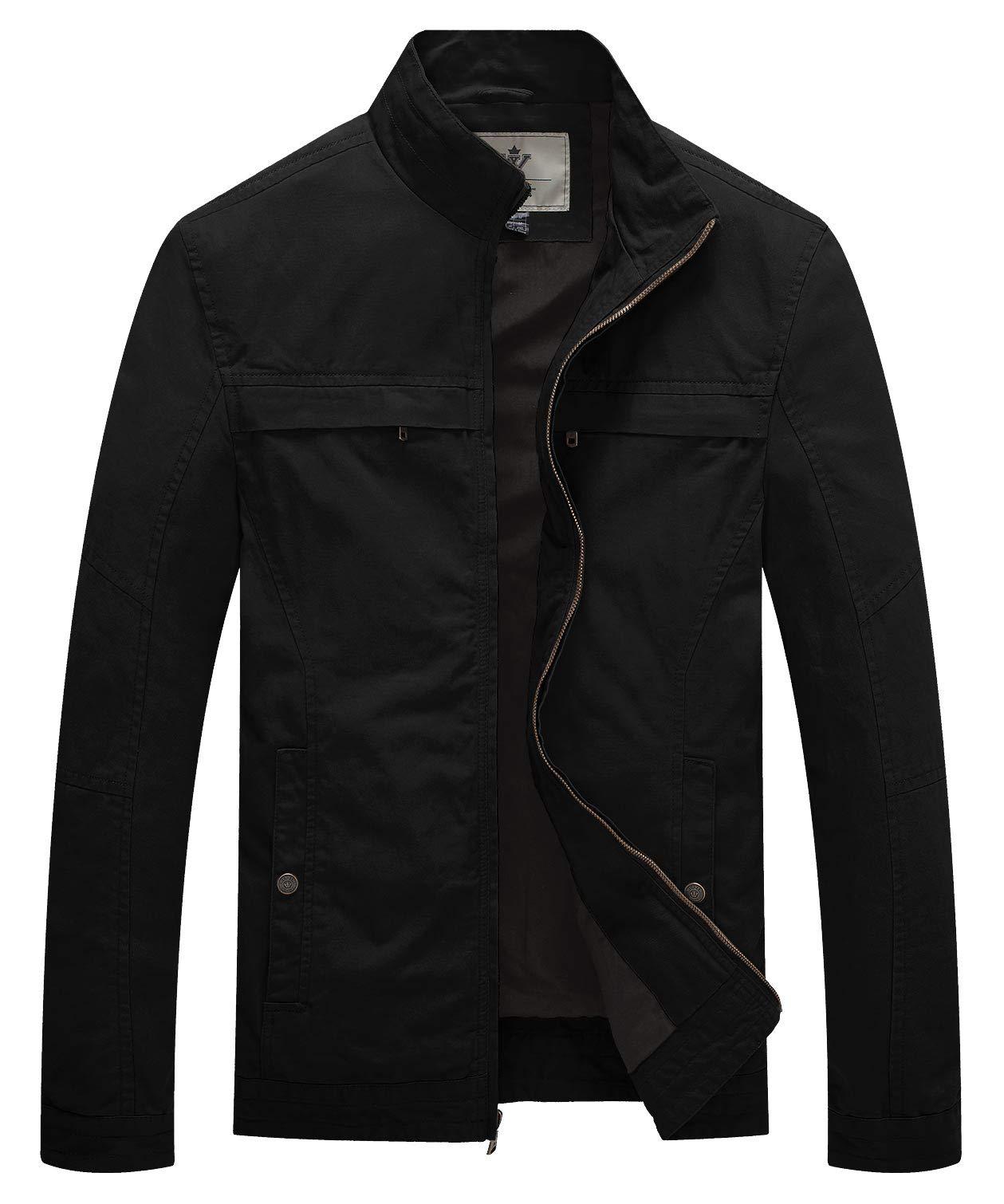 WenVen Men's Stand Collar Lightweight Military Jacket(Black,Large) by WenVen