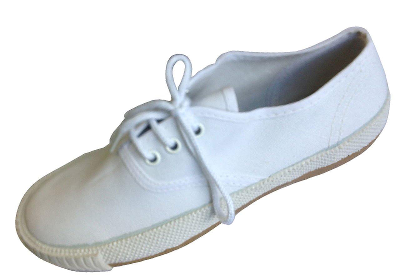 Unisexe Neuf Toile Blanche Uniforme Scolaire Chaussures PE chaussures Chaussures plates Lacet
