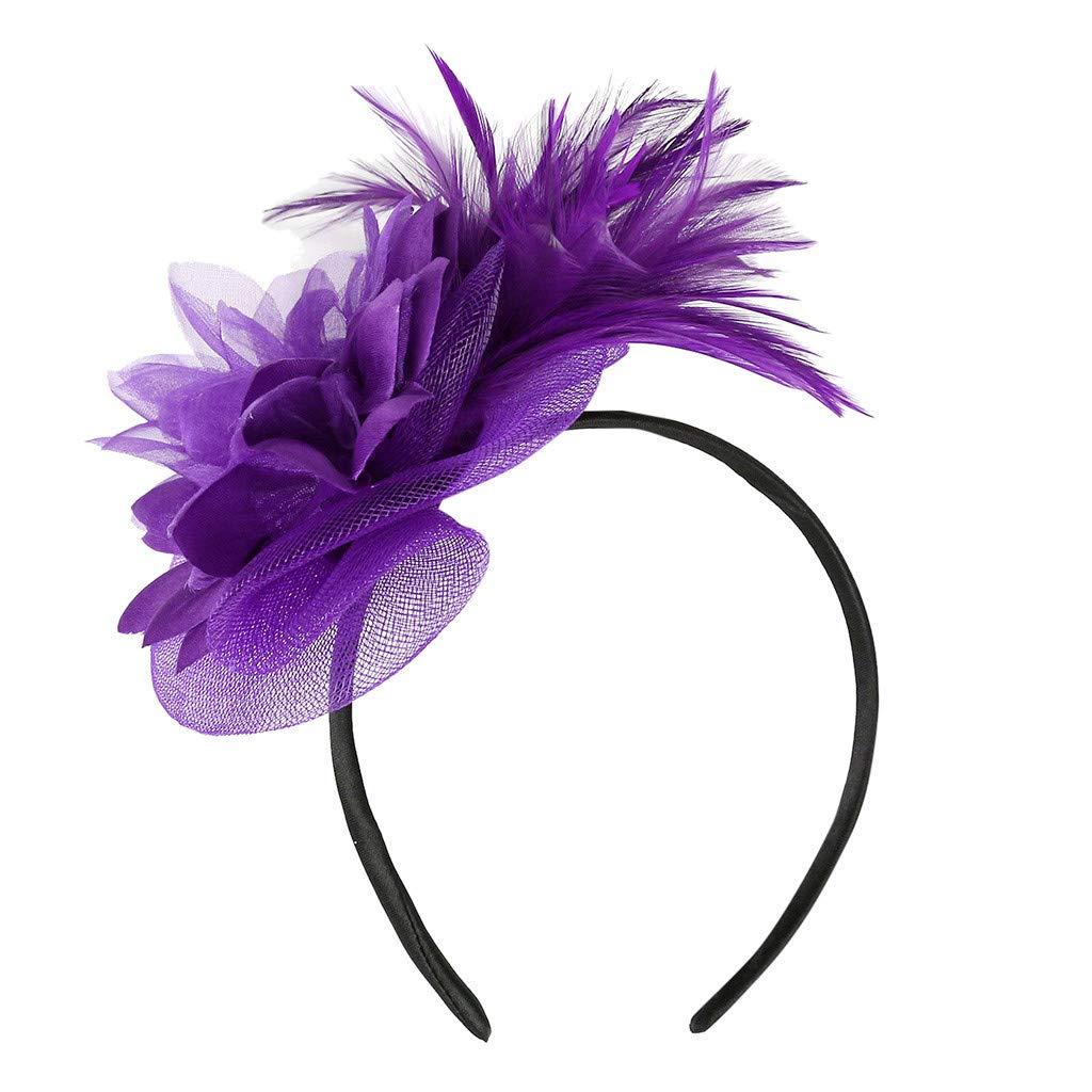 ➤Refill➤Fascinators Hut Blume Mesh B/änder Federn auf einem Stirnband und Einem Geteilten Clip Cocktail Tea Party Headwear f/ür M/ädchen und Damen