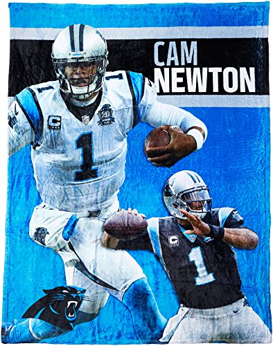 The Northwest Company Officially Licensed NFL Carolina Panthers Cam Newton Players HD Silk Touch Throw Blanket, 50
