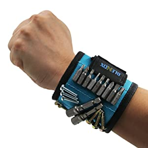 Magnetic Wristband, BLENDX Men Gifts Tool with Strong Magnets for Holding Screws, Nails, Drill Bits Cool Tools for Father's Day Gift for Him, Men, Husband, Dad, Guys, DIY-er (Magnetic Wristband)