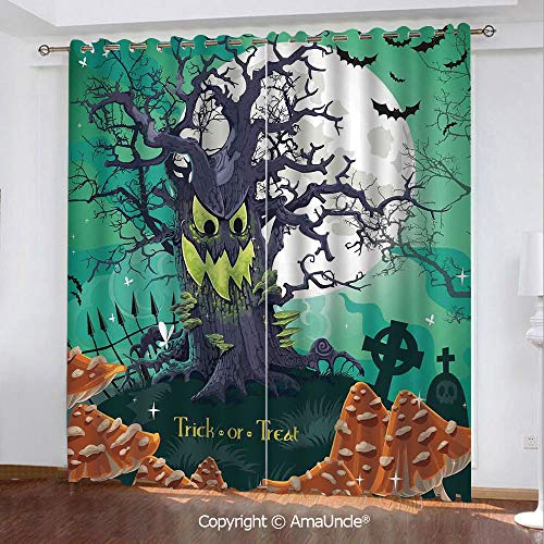 PUTIEN 3D Printed Blackout Curtains,Halloween Decorations,Trick or Treat Dead Forest with Spooky Tree Graves Big Kids Cartoon Art,Multi Pattern,W84.3xL84.3 Inches,Window Treatments for Bedroom -