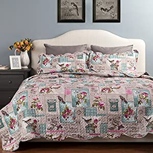 Printed Quilt Coverlet Set Bedspread Full/Queen Size (86