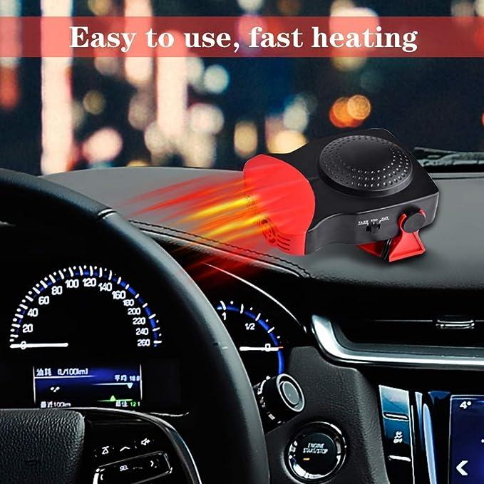 Car Heater 12V et 24V Ventilateur de chauffage et de d/égivrage en c/éramique portatif pour voiture dans une voiture 2 en 1 DC.