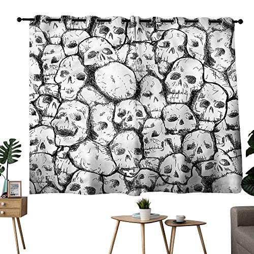 Beihai1Sun Curtains,Extra Darkening Curtains Grommets Curtain for Bedroom Skull,Grungy Skulls Halloween Darkening/Blackout W72 x L45 ()