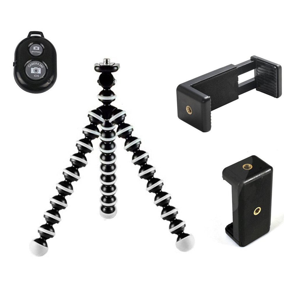 DAISEN Camera Tripod, Octopus Camera Holder and Phone Tripod for iphone/Universal Smartphone/Cell phone/Camera Arbitrary installed With Remote Control(White) by DAISEN (Image #2)