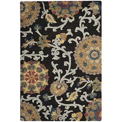 Safavieh Blossom Collection BLM401A Handmade Floral Vines Charcoal and Multi Premium Wool Area Rug (2' x (Accents Collection Floral Rug)