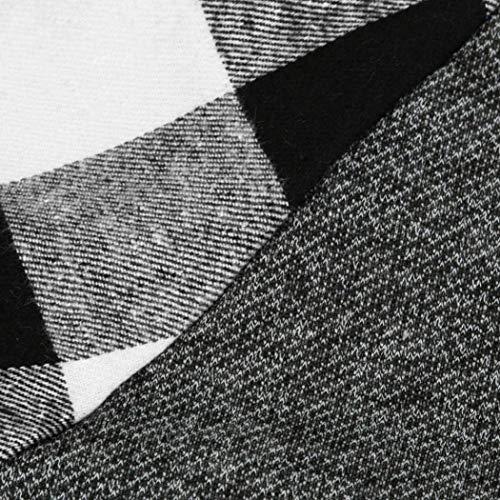 Jumper Carreaux Grau Automne Chemises Casual Hiver Manches Élégant shirt Femmes Longues Sweat Vintage Classique À Large Bobolily Mode Splice T wHpxIOqxC