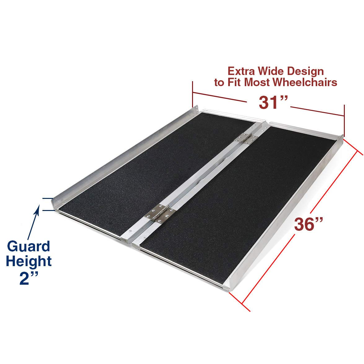 Clevr 3' (36'' X 31'') Non-Skid Aluminum Wheelchair Loading Traction Ramp, Lightweight Folding Portable, Single Fold Wheelchair Scooter Ramp, Extra Wide 31'', Holds up to 600 lbs by Clevr (Image #4)
