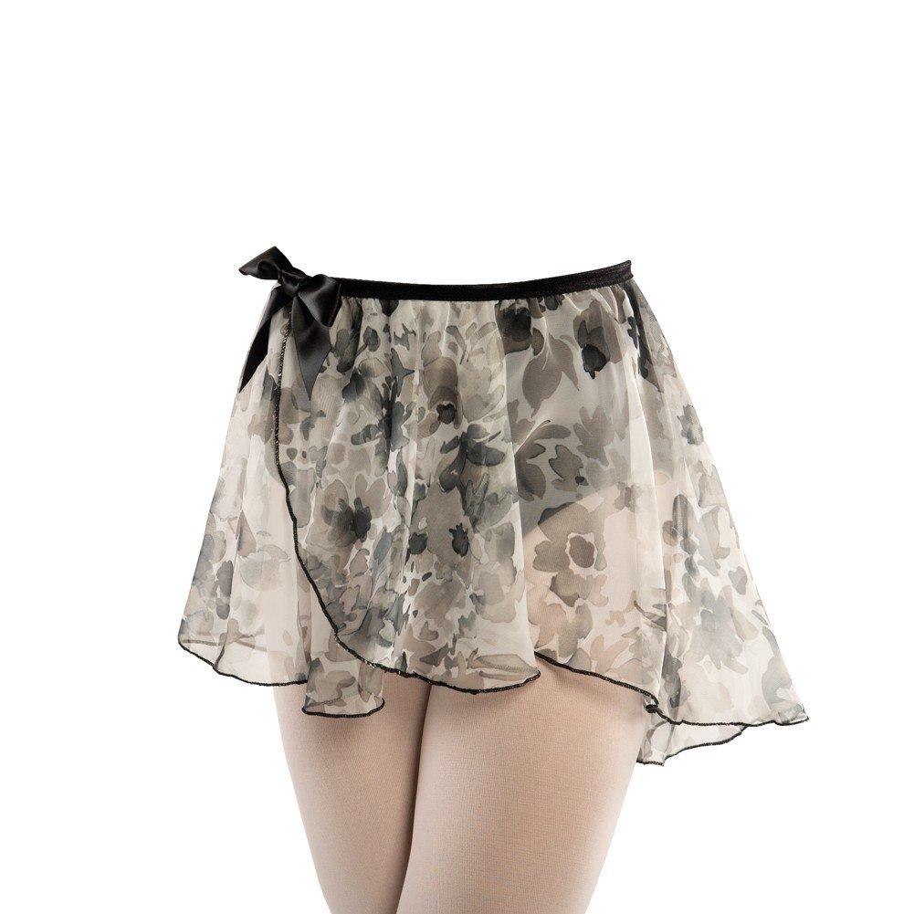 Danshuz Black Floral Chiffon Elasticized Dance Skirt Little Girls 4-14