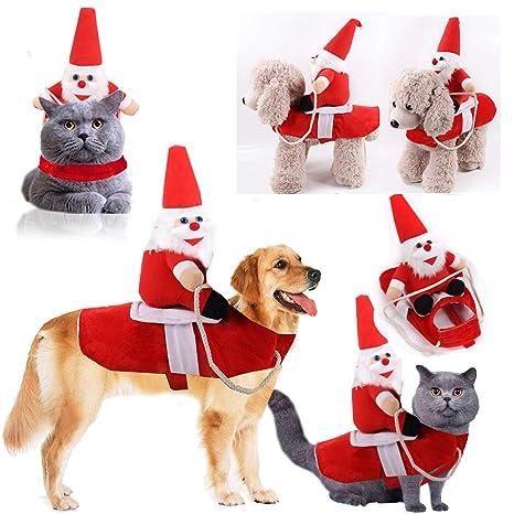 ZQEU disfraz de Papá Noel para perro o gato, traje de montar ...