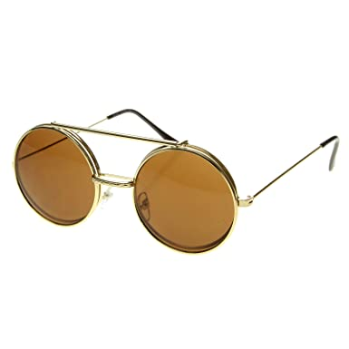 ee025ca42c zeroUV - Limited Edition Color Flip-Up Lens Round Circle Django Sunglasses  (Gold Amber