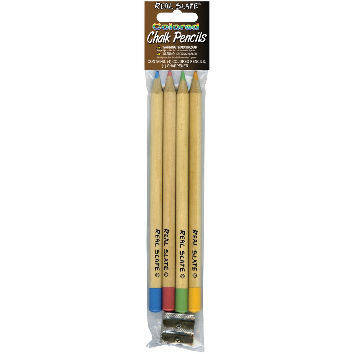 Multicolor Pepperell SLTCLK02 Real Slate Colored 4 Chalk Pencils with Sharpener
