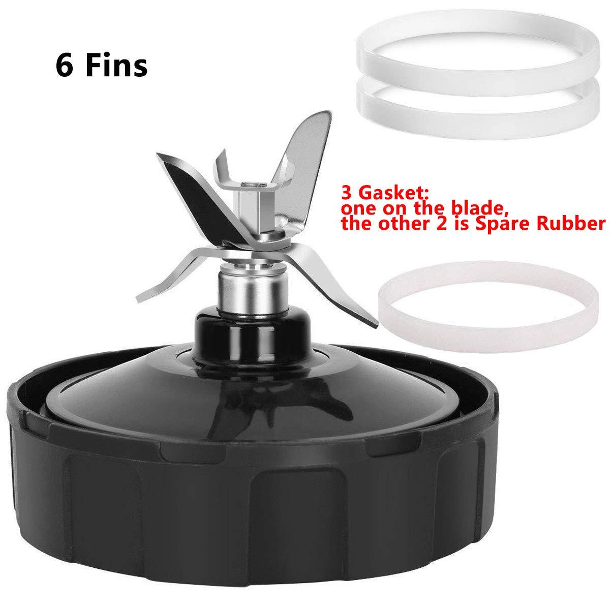 Blender Replacement Parts for Ninja,Blender Blade 6 Fins+3 Rubber Gasket Assembly for Nutri Ninja Auto iQ BL660 BL770 BL771 BL772 BL773CO BL780 Nutri ...