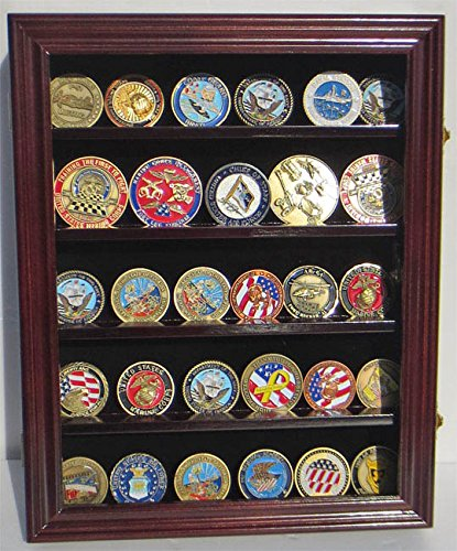 Lockable Military Challenge Coin Display Case Rack Wall Cabinet Coin30 by Display Sport