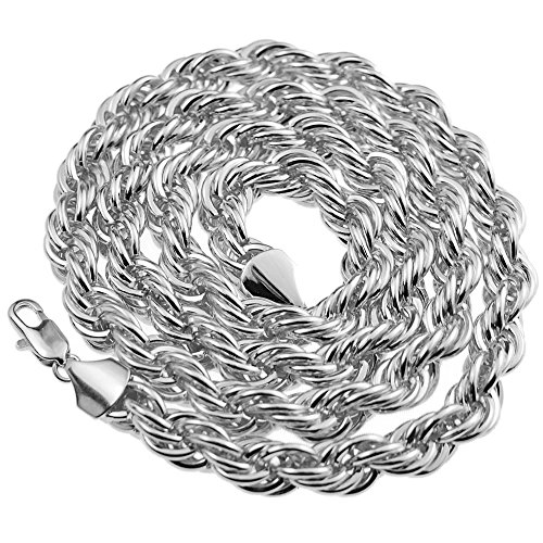 Rope Chain 10mm Thick 30 inch Long Silver Platinum Tone Twisted Heavy Dookie Hip Hop (Dookie Rope)